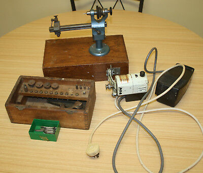 Vintage Watchmakers Lathe - F. Lorch With Collets, Wernard Motor + Bits & Pieces