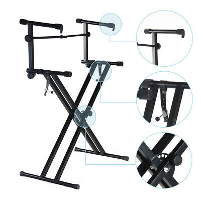 New Pro Adjustable 2-Tier X Style Dual Keyboard Stand Electronic Piano Double