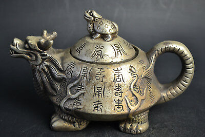 China Collectible China Old Copper Silver Plate dragon tortoise Lid Teapot