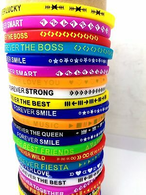 500 Mix Forever Boy Girls Silicone Bracelet Wristbands Party Birthday Xmas Gift