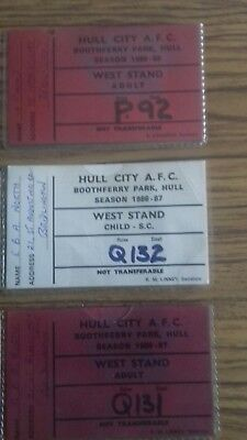 3 x old hull city season  tickets . Very  very  rare.