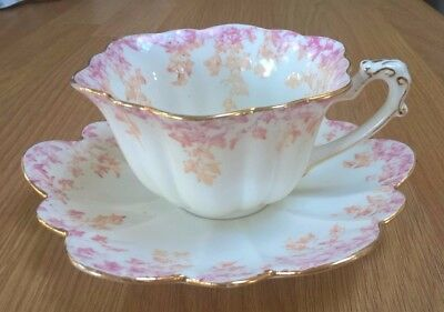 Rare FOLEY pre SHELLEY Victorian Duo TEA CUP and SAUCER 5042 PINK and BROWN 1893