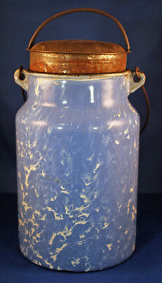 Vintage Graniteware Blue And White Cream Can With Lid