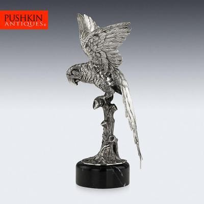 STUNNING 20thC CONTINENTAL SOLID SILVER LARGE PARROT FIGURE ON STAND c.1960