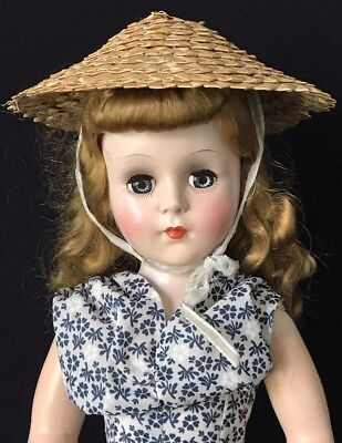 "17"" Beautiful Blonde Unmarked Hard Plastic Early 1950'S Doll W/straw Hat"