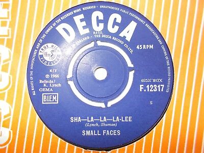 "M-  Uk  Decca 45 - Small Faces - "" Sha--La--La--La-Lee"" / ""grow Your Own"""