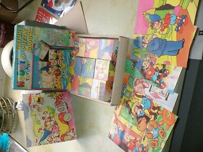 """""""noddys Toyland Picture Puzzle Blocks"""" Boxed.from 1990 Good Condition."""