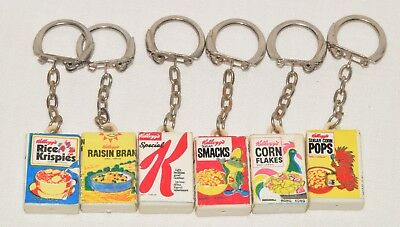 Lot of 4 Vintage Kellogg's Miniature Cereal Box Key Chains
