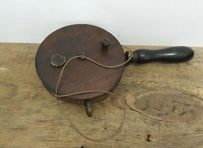 Vintage / Antique Fishing Hand Line Reel Wood & Brass