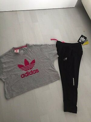 Girls Adidas Cropped Top/t-shirt And Cropped Karrimor Leggings Age 9-10-11-12yrs