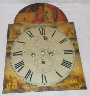 Antique GRANDFATHER Clock PAINTED Dial WHITELEY Of RIPPONDEN Arch Top
