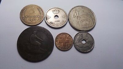 Europe, 6 x Coins. Various, random Countries & denominations.
