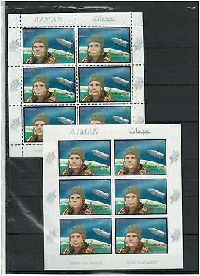 Ajman, Stamps, Full Sheets, SPACE, Gagarin, OVERPRINT, MNH - Perf + IMPERF -
