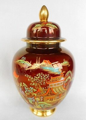 Carlton Ware Rouge Royale Temple Vase  ~ Decorated In 'new Mikado ' Fine Example