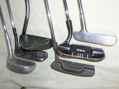 Collection of 6 Vintage Gold Club Putters inc. Ray Cook Ping Cushin 3 Wilson