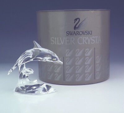 Swarovski Crystal Glass - Dolphin On A Wave Figure - Boxed!