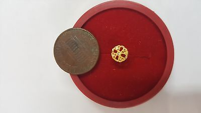 22k Real Solid Gold Nose Pin G42 Wheel of Fortune Pattern refund policy #FHXWX
