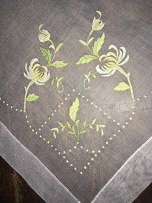 Antique Floral Appliqued + Embroidered White Organdy Tablecloth Madeira C1940