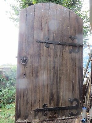 Large Ecclesiastical Pine Door With Wrought Hinges And Door Furniture- Barn Find
