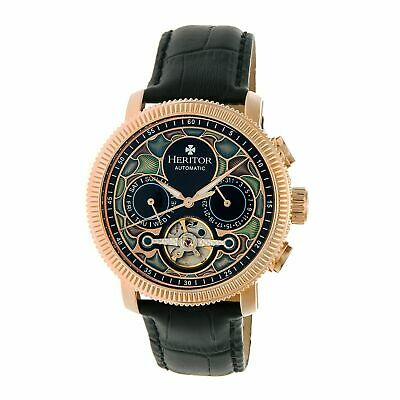 Heritor Aura Leather-Band Watch w/ Day/Date, Rose Gold/Black, : HERHR3503
