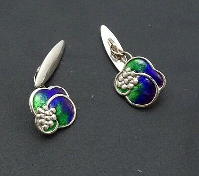 fabulous pair charles horner silver and enamel cuff links chester 1909