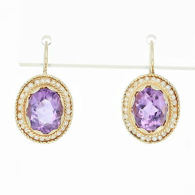 Vintage Amethyst & Seed Pearl Halo Earrings - 14k Gold Drop Pierced 4.70ctw