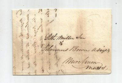 1837 Stampless Folded Letter From New Bedford, Mass, Letter