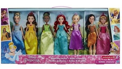 NEW Disney Princess Ultimate Collection Sparkling Styles 7 Pack Dolls