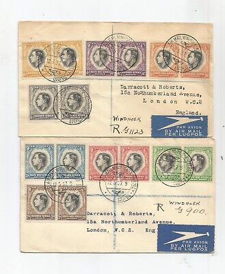Southwest Africa Scott# 125-132 Fdc, Complete Pair Set On Registered Covers
