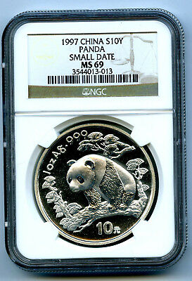 1997 1 Oz Silver Panda China Ngc Ms69 Small Date 10 Yn .999 Fine S10Y Chinese