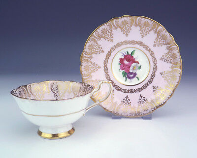 Vintage Paragon China - Wild Flowers & Gilt Decorated Pink Cabinet Cup & Saucer