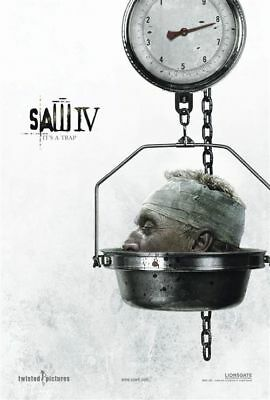 """SAW IV 2007 Advance Teaser Version B DS 2 Sided 27X40"""" Movie Poster Tobin Bell"""