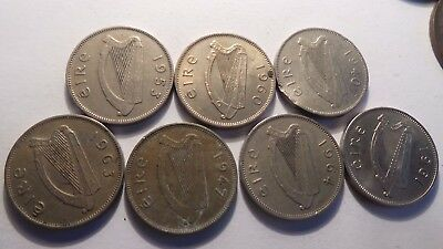 Ireland, 7 x 6d Coins. Various, random years.