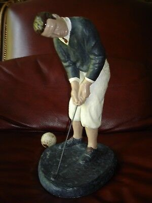 """Large Vintage WALTER HAGEN Putting GOLF STATUE by DeGroot 14"""" Tall 7 Pounds"""