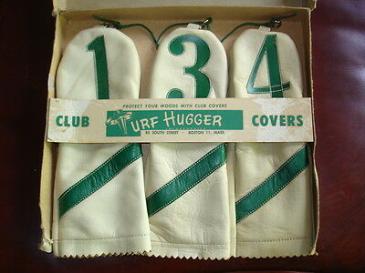 """Vintage MINT in BOX 100% Leather GOLF HEAD COVERS """"Turf Hugger Club Covers"""""""