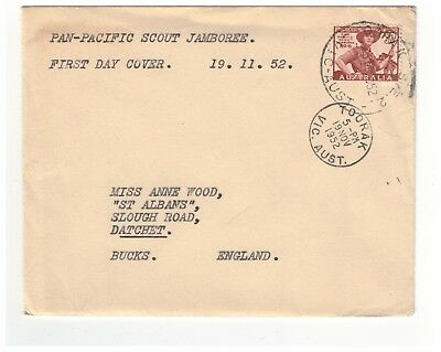 Australia 1952 Pan Pacific Scout Jamboree First Day Cover Toorak Cds