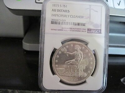 1875-S NGC AU Details Silver Trade Dollar