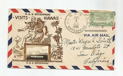 1940 Uss Enterprise Cover, Visit To Hawaii W/crosby Cachet
