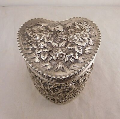 Antique Tiffany & Co Sterling Silver Gold Repousse Flower Heart Dresser Box