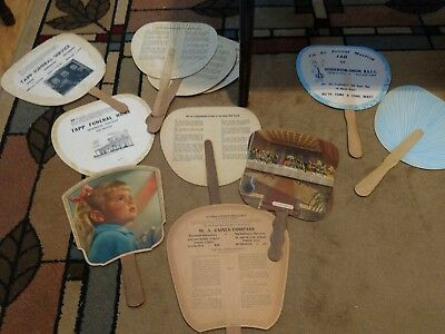 Vintage Hand Fans - Advertising Kentucky Business - Lot of 11