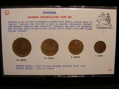 ETHIOPIA - 4 Different Uncirculated Coins - 50+ Years OLD