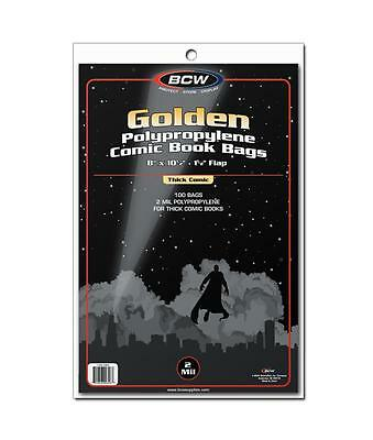 """1 Case of 1000 BCW Thick Golden Age 8"""" Comic Book Storage Poly Bags Sleeves"""