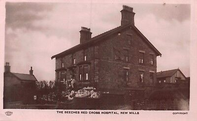 Derbyshire New Mills The Beeches Red Cross Hospital Wounded Soldiers Photo Card