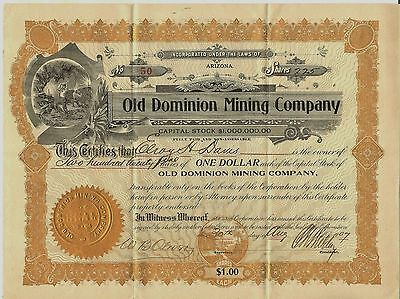 C1907 ARIZONA AR MINING  Stock Certificate Good Vignette