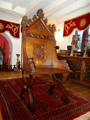 Antique Carved Oak Gothic Church Chair~Bishops Throne~Religious Lamb Of God~Ihs