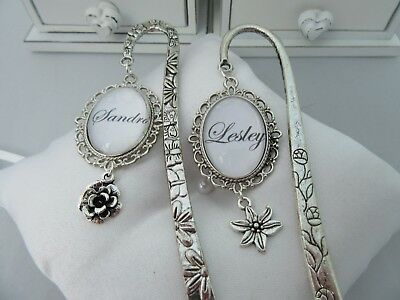 Stunning Personalised Tibetan Silver Cabochon Any Name  Bookmark In Box