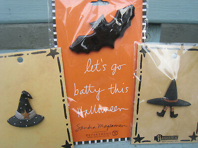 Vintage lot of 3 quirky brooches witch bat witches hat spooky Halloween
