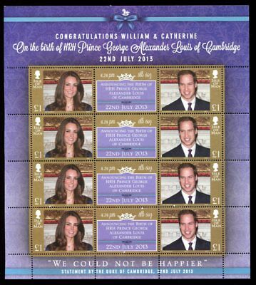 ISLE of MAN 2013 ROYALTY WILLIAM & CATHERINE £1 x8 Stamps MNH SHEET
