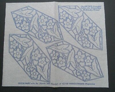 A VINTAGE 1930s GOOD NEEDLEWORK EMBROIDERY TRANSFER STYLISED FLOWERS (2)