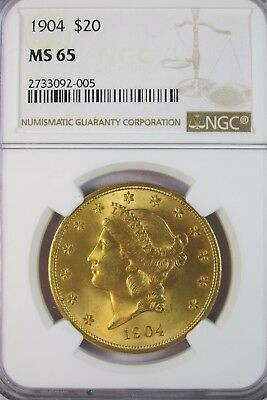 1904 Liberty Head Gold $20 Double Eagle NGC MS65